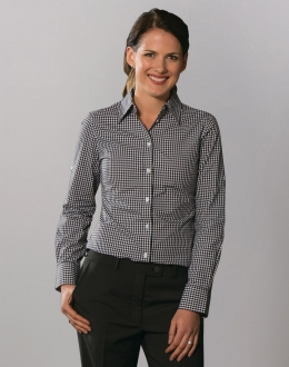 M8300L Ladies Gingham Check Shirt LS