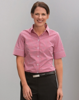 M8300S Ladies Gingham Shirt SS
