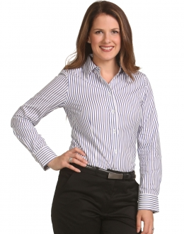 M8310L Ladies Sateen Stripe Shirt LS
