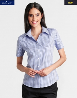 M8320S Ladies Two Tone Gingham Shirt SS