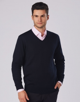 M9502 Mens Merino Wool V-Neck Jumper