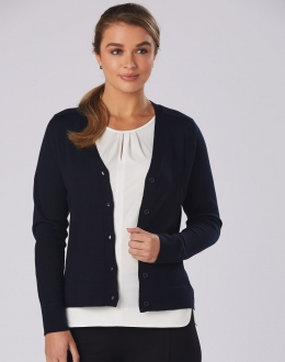 M9602 Ladies Merino Wool V-Neck Long Sleeve Cardigan