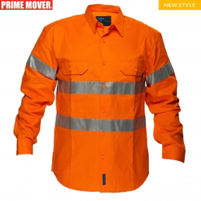 MA191Hi-Vis Regular Weight Long Sleeve Shirt with Tape