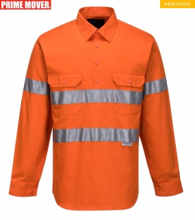 MC191 Hi-Vis Long Sleeve Closed Front Shirt with Tape