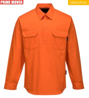 MC988 Hi-Vis Regular Weight Long Sleeve Closed Front Shirt