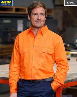 SW51L HiVis Long Sleeve Drill Shirt Larger Size