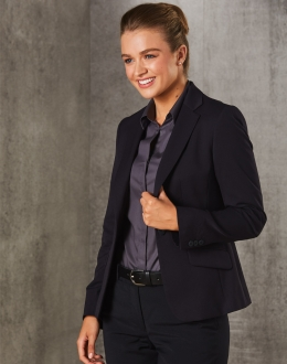 Women's Poly/Viscose Stretch One Button Cropped Jacket