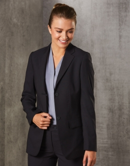 Women's Poly/Viscose Stretch Two Buttons Mid Length Jacket